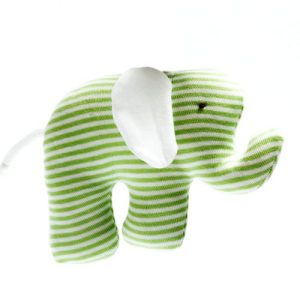 Organic, Fair Trade and Upcycled Cotton Green Stripe Elephant Toy
