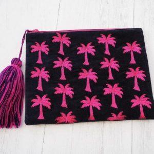 Velvet palm tree pouch bag
