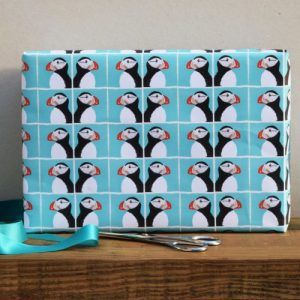 Puffins Gift Wrap – 25 sheets (Matching cards available.)