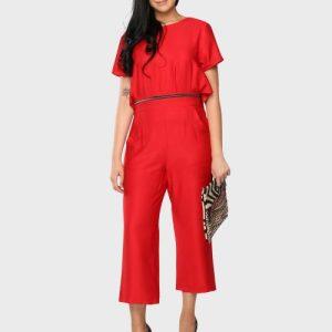 Zip Jumpsuit Red