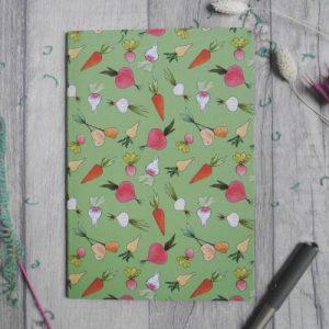 Veg print A5 notebook | Recycled Card