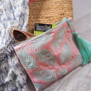 Velvet palm leaf pouch bag
