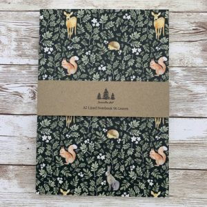 Woodland Animals A5 Lined Notebook - woodland main1 scaled 1 500x500