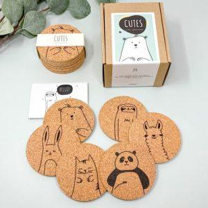 Cutes – Cute animals eco-friendly round cork coaster set of 6 - Case of 6 sets - 01 cutes cork coaster set cute animals tiere kork untersetzer pepmelon 500x500