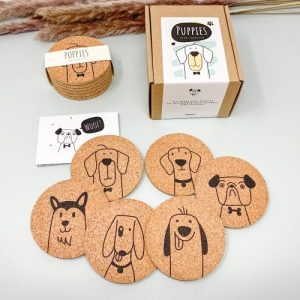 PUPPIES – Cute dog Cork coasters, round, set of 6 pieces, eco-friendly coaster set with cute dogs - 01 puppies cork coaster set cute dogs hunde untersetzer set 500x500