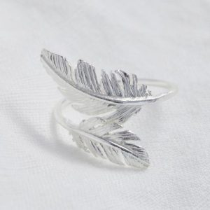 Silver Double Feather Ring - 1 10 500x500