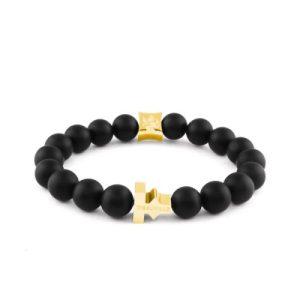 The Labyrinth Matt Agate Bracelet – Gold