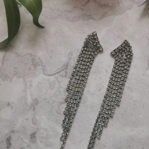 Silver Tone Cubic Zirconia Waterfall Style Earrings - 1132 500x500
