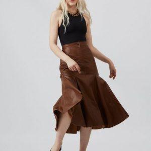 Brown Bellen Fishtail Leather Skirt