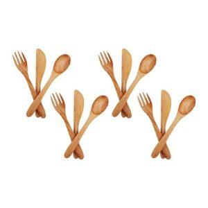 Vie Gourmet Mahogany Cutlery (Spoon, Knife, Fork), 16cm, 4 Sets