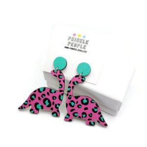 Dinosaur Earrings, Dinosaur Jewellery, Blue Pink Dinosaur Earrings, Leopard Print Jewellery ,Geeky Gift, Cute Jewellery,Kawaii Earrings - 16 23 500x500