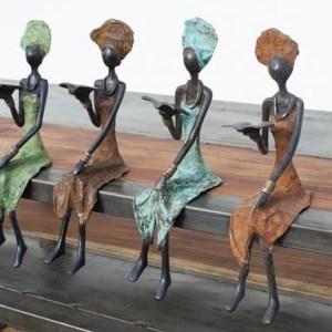 """Bronze Sculpture """"Reading Woman"""" By Adama Ouedraogo 25 Cm Unique Different Colors"""