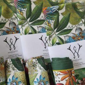 Passionflower Antique Botanical Print Tea Towel Green border UK Made - 20200725 123507 500x500
