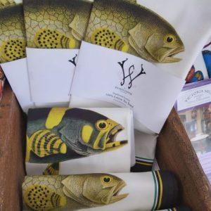 Yellow Fish Antique Print Tea Towel Black Edge UK Made - 20200725 140010 500x500
