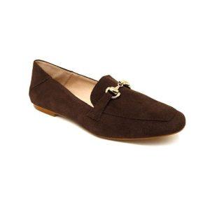 Reanne moccasin in brown split leather