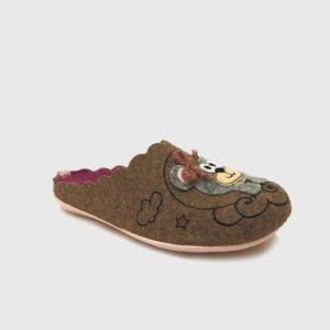 Bear house slippers in brown textile