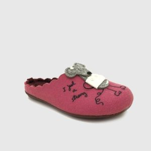 Wedding slippers in pink textile
