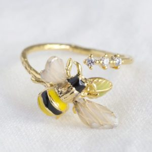 Bumble Bee Gem Open Ring - 41 500x500