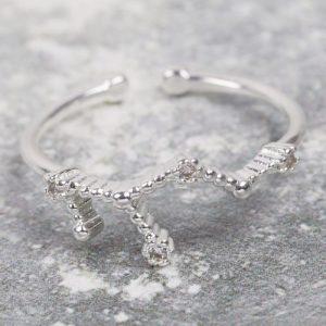 Adjustable Sterling Silver Constellation Ring – Virgo