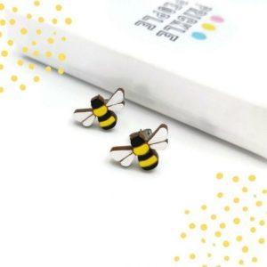 Bee Earrings, Bumblebee Jewellery, Bee Studs, Quirky Jewellery, Nature Earrings, Kawaii Jewellery, Mother's day gift