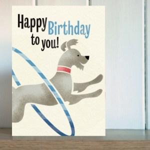 Big Top Hula Hoop Dog Birthday Card