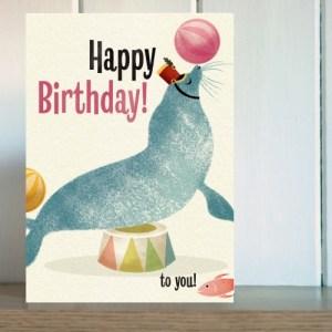 Big Top Sea Lion Birthday Card