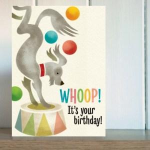 Big Top Juggling Dog Dog Birthday Card