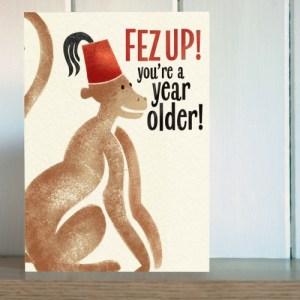 Big Top 'Fez Up Monkey' Birthday Card