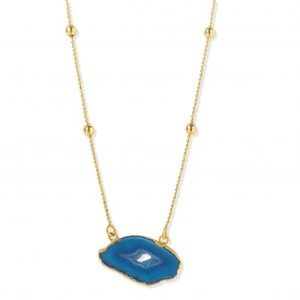 YYL LUXE 'MY FIRST LOVE' GOLD VERMEIL OCEAN BLUE AGATE CRYSTAL NECKLACE - BLUE NECKLACE 500x500