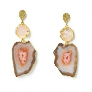 YAA YAA LONDON 'HOLD ON' ROSE QUARTZ GEMSTONE STATEMENT EARRINGS - BROWN CORAL EARRINGS Exclusive 500x500