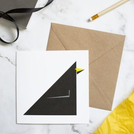 Blackbird card. Geometric design with kraft envelope