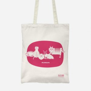 #ILOVECATS Salvaged Fibre Tote (Hot Pink) - CATStote new HOTPINK 500x500