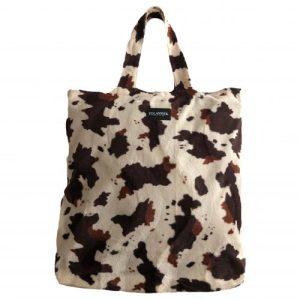 Ellastiek dames tassen – dames shopper met zijvakje + rits – XL formaat – koeprint – handmade in Amsterdam (statement bag Carlie)