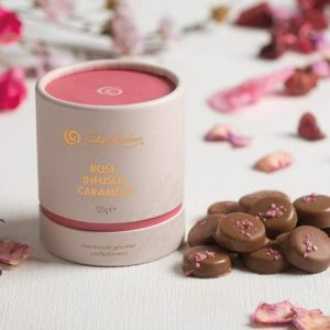Rose Infused Caramels - Delectables 0456 Tube Rose Infused Caramel Tub Lifestyle 500x500