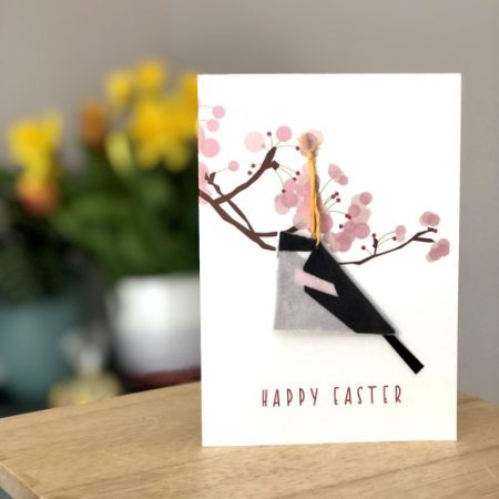 Easter card with long-tailed tit removable decoration