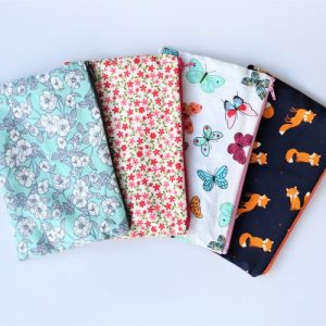 Cotton Make Up Bags with zip closure