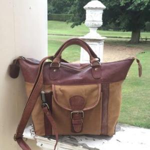 Melton – Unique Canvas and Vintage Leather Satchel / Shoulder Bag – Tan