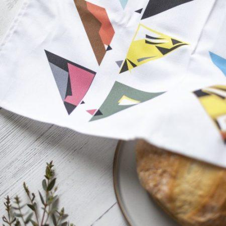 100% cotton Tea Towel with 20 geometric birds printed on