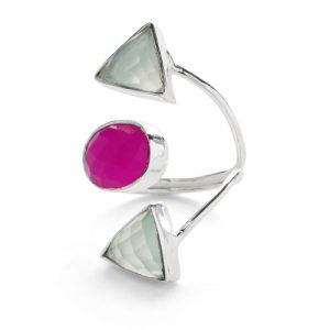 925 Sterling Silver Chalcedony Gemstone 'Fearless' Adjustable Ring
