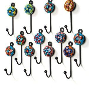 Hand Painted Ceramic Mini Hooks - Set of 10 - HK42 500x500
