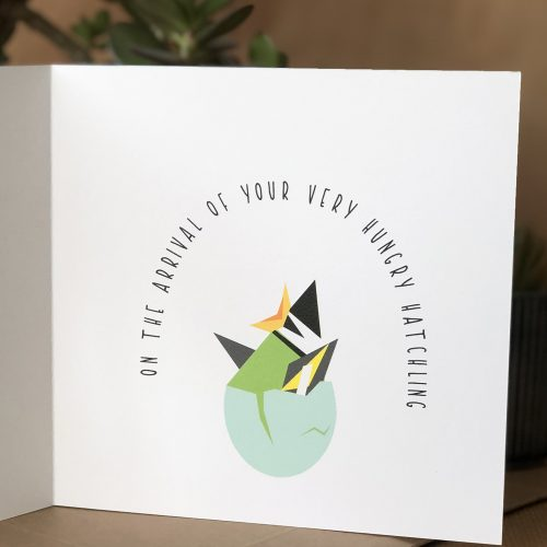 Card with image of chick popping out of it's egg