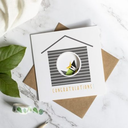 New Hatchling card with circle cut out to reveal the printed design inside.