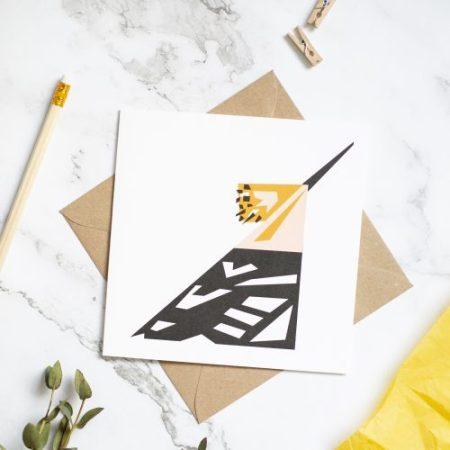 Hoopoe card. Geometric design with kraft envelope