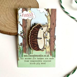 Flossy Teacake Hedgehog Wooden Pin Badge - IMG 20210301 WA0016 500x500