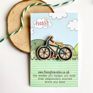 Flossy Teacake Bike Wooden Pin Badge - IMG 20210301 WA0030 500x500