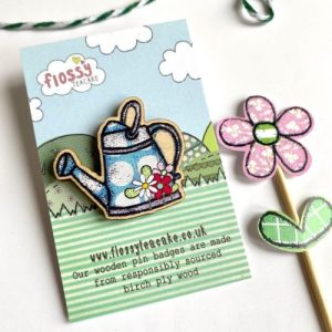 Flossy Teacake Watering can Wooden Pin Badge - IMG 20210301 WA0035 500x500