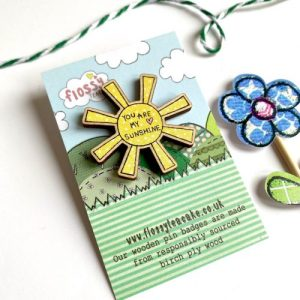 Flossy Teacake Sunshine Wooden Pin Badge - IMG 20210301 WA0036 500x500