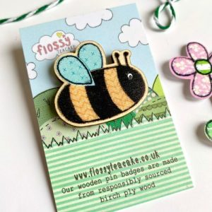 Flossy Teacake Bee Wooden Pin Badge - IMG 20210301 WA0037 500x500
