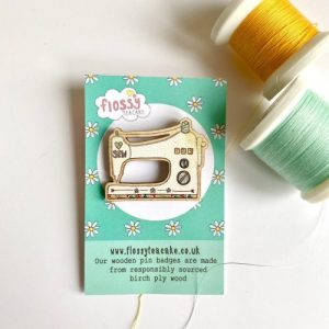 Flossy Teacake Sewing Machine Wooden Pin Badge - IMG 20210301 WA0038 500x500