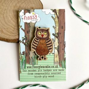 Flossy Teacake Owl Wooden Pin Badge - IMG 20210301 WA0042 500x500